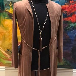 Brown Long Suede Open Front Jacket